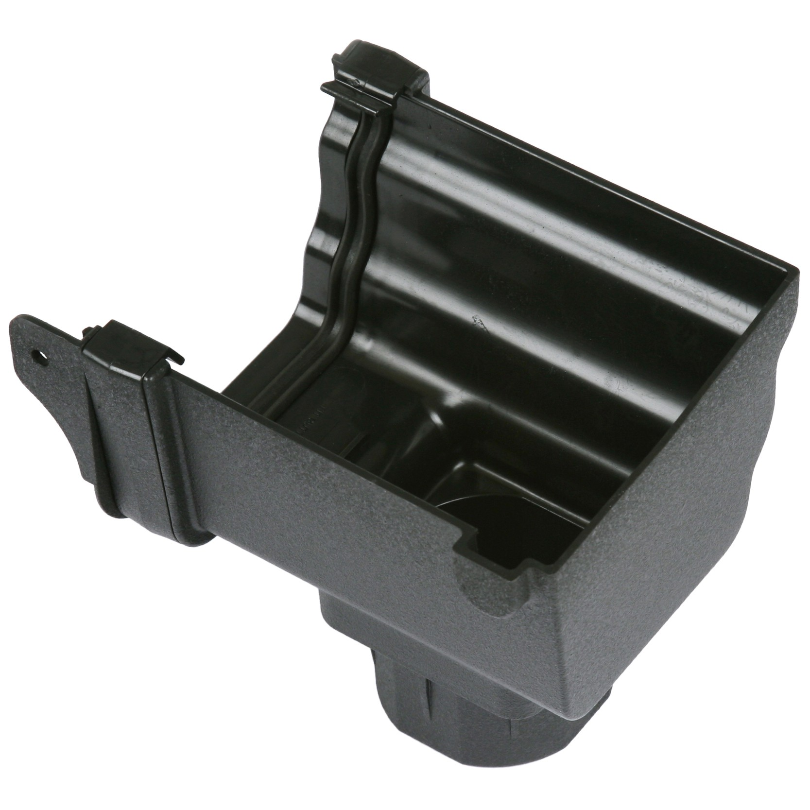Cascade 106mm Prostyle Cast Iron Style Gutter Stop End Outlet (Right Hand) - Black