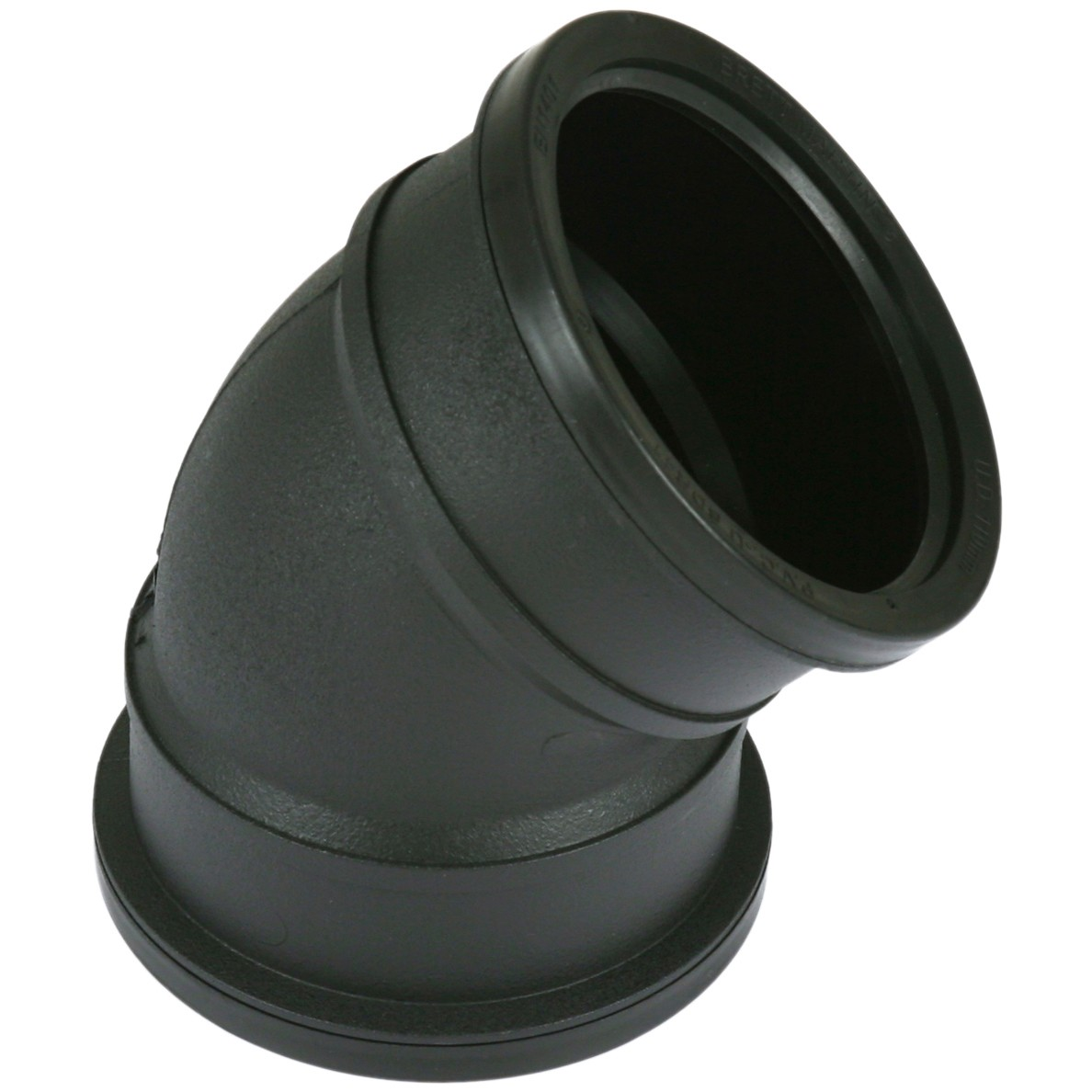 Cascade 110mm Cast Iron Style Soil Double Socket 135 Degree Bend - Black