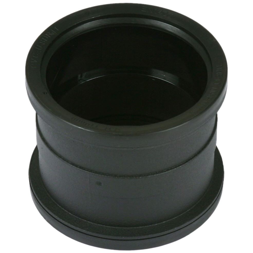 Cascade 110mm Cast Iron Style Soil Double Socket Coupler - Black