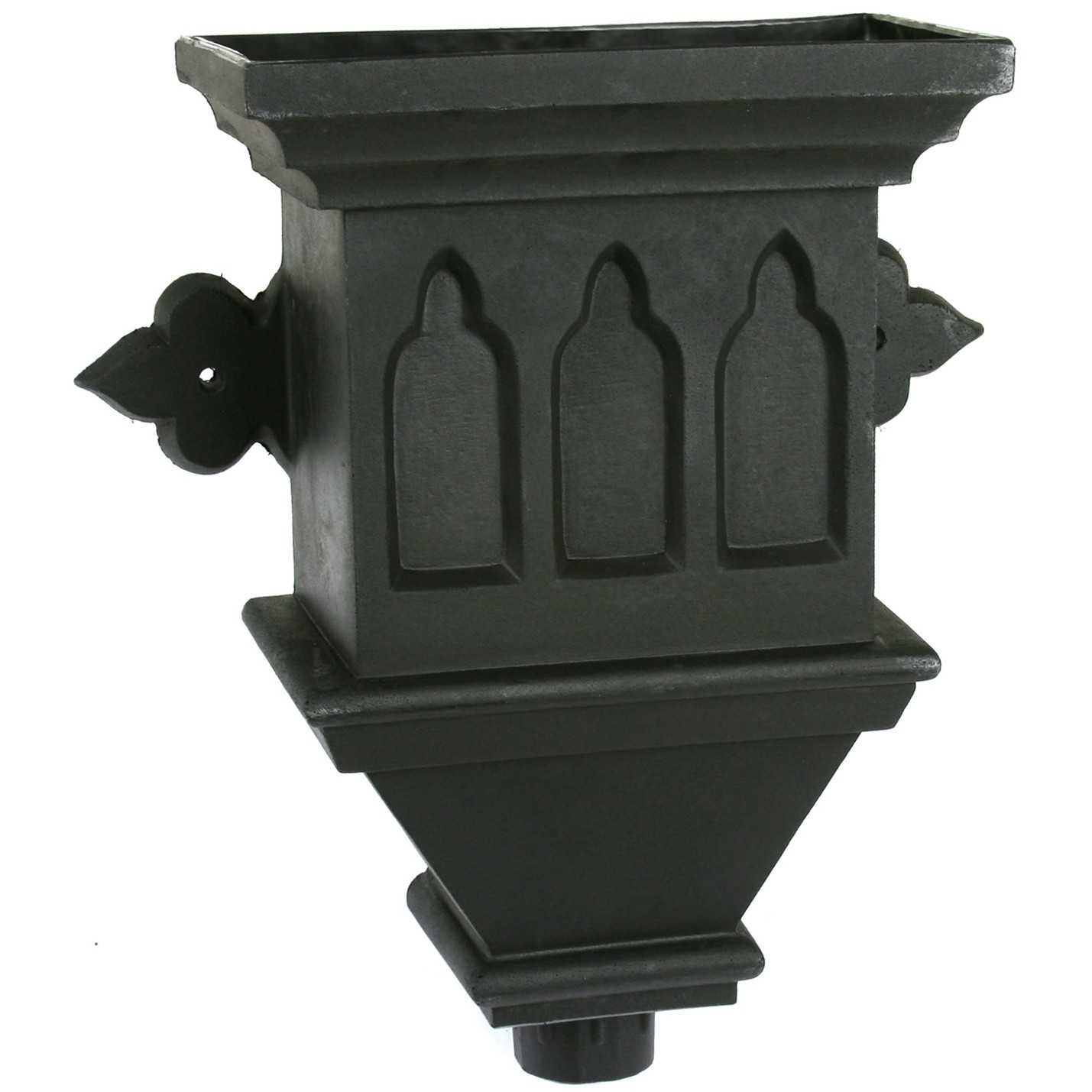 Cascade Cast Iron Style Hopper Head (Gothic) - Black