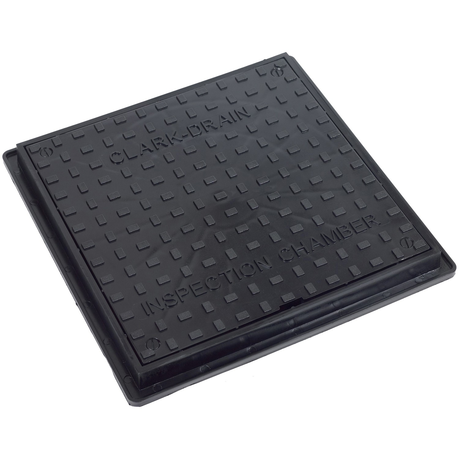 Clark Drain 380mm x 380mm Square Solid Top Chamber Cover and Frame (3.5 Tonne) - Black, 300mm