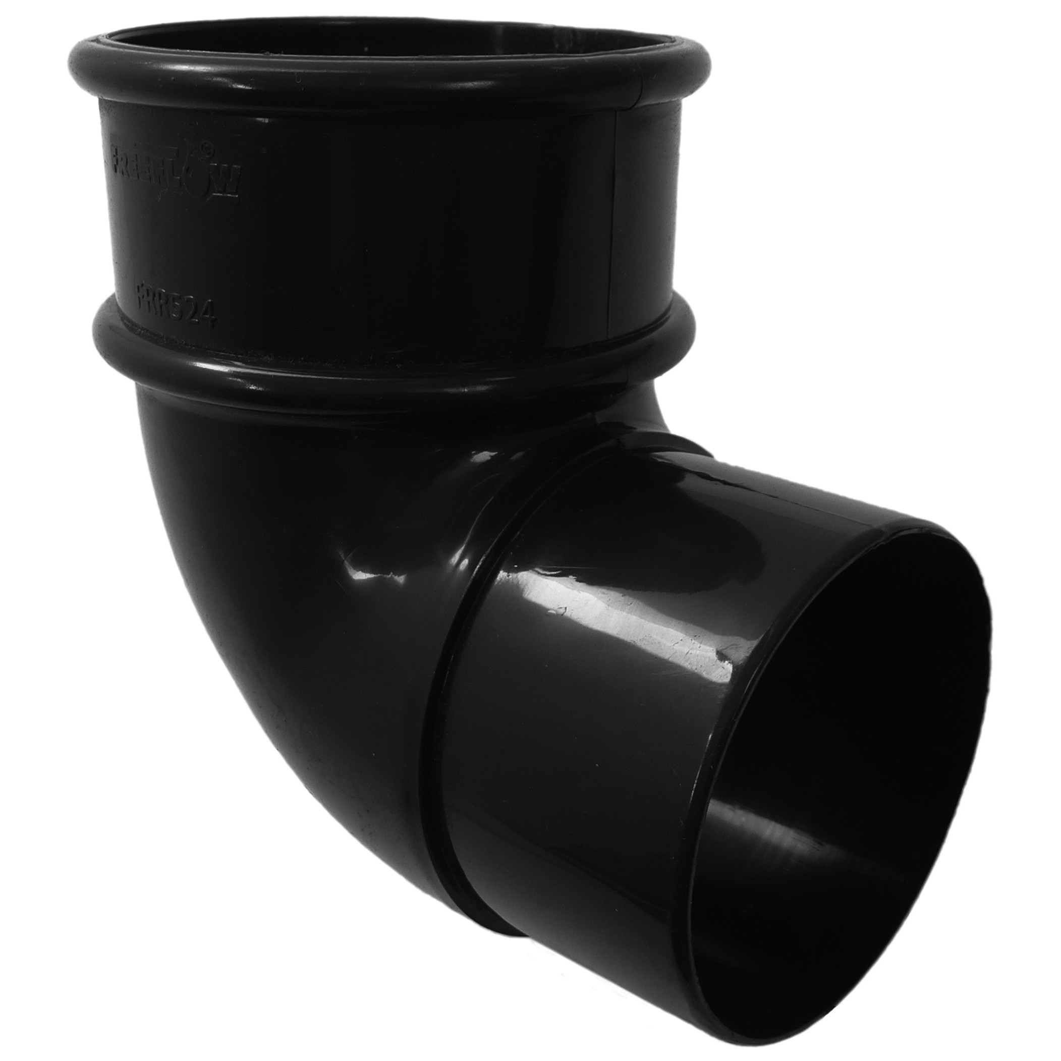 Freeflow 68mm Round Down Pipe 90 Degree Offset Bend - Black