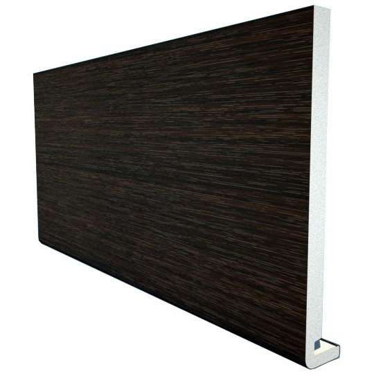 Freefoam Magnum Square Leg 18mm Fascia Board - Woodgrain Black Ash, 225mm, 5 metre