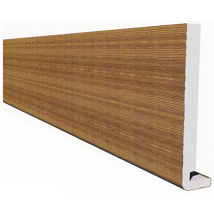 Freefoam Magnum Square Leg 18mm Fascia Board - Woodgrain Light Oak, 150mm, 5 metre