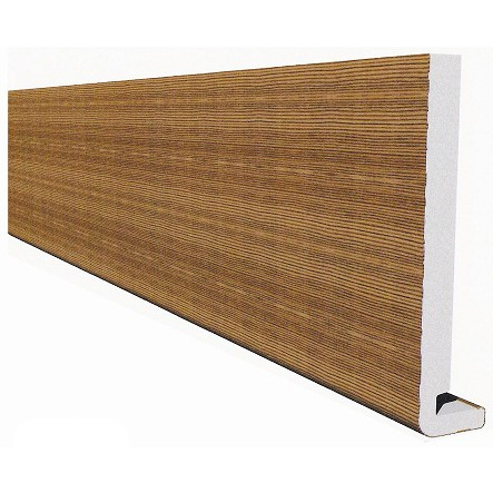 Freefoam Magnum Square Leg 18mm Fascia Board - Woodgrain Light Oak, 200mm, 5 metre