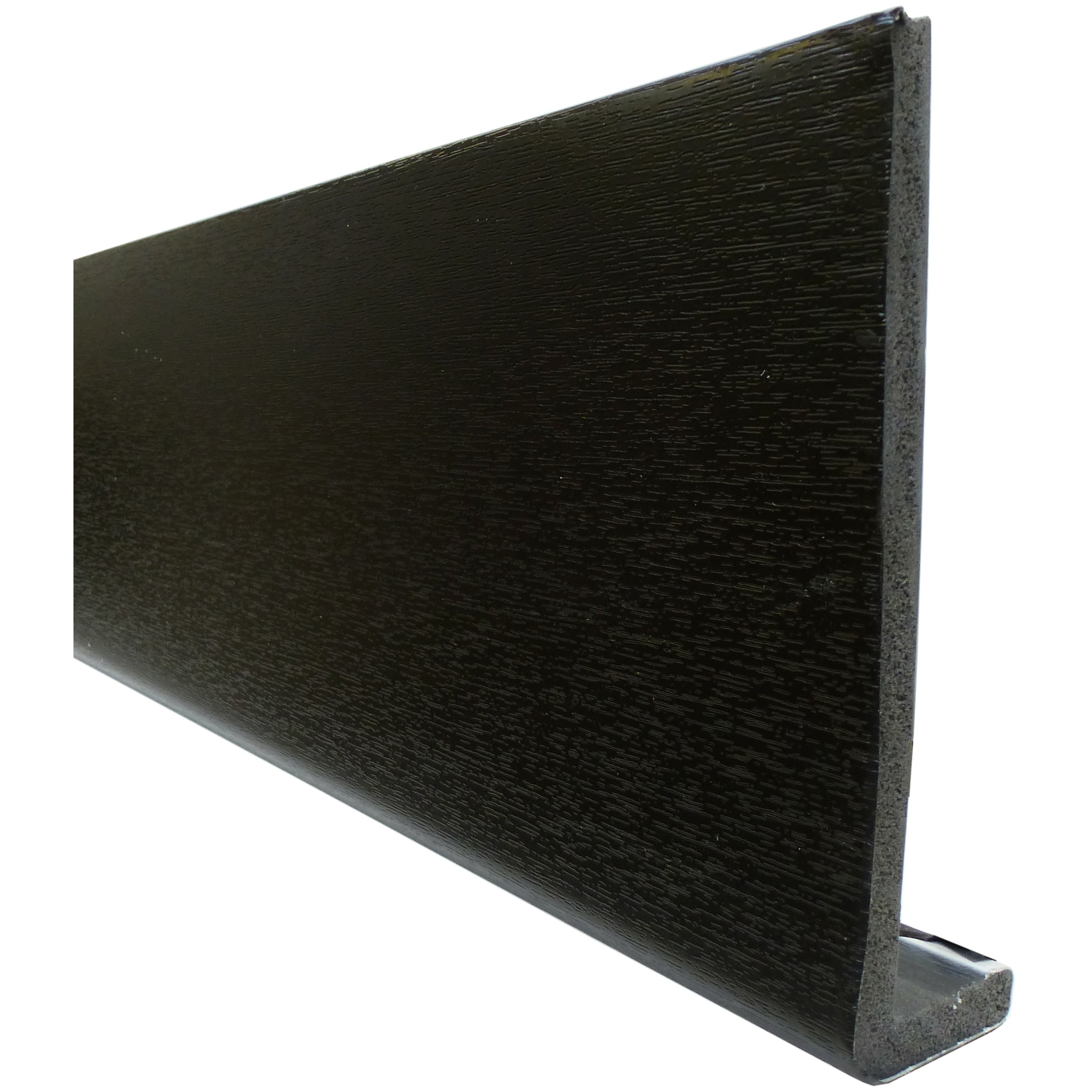 Freefoam Plain 10mm Fascia Board - Woodgrain Black Ash, 200mm, 5 metre