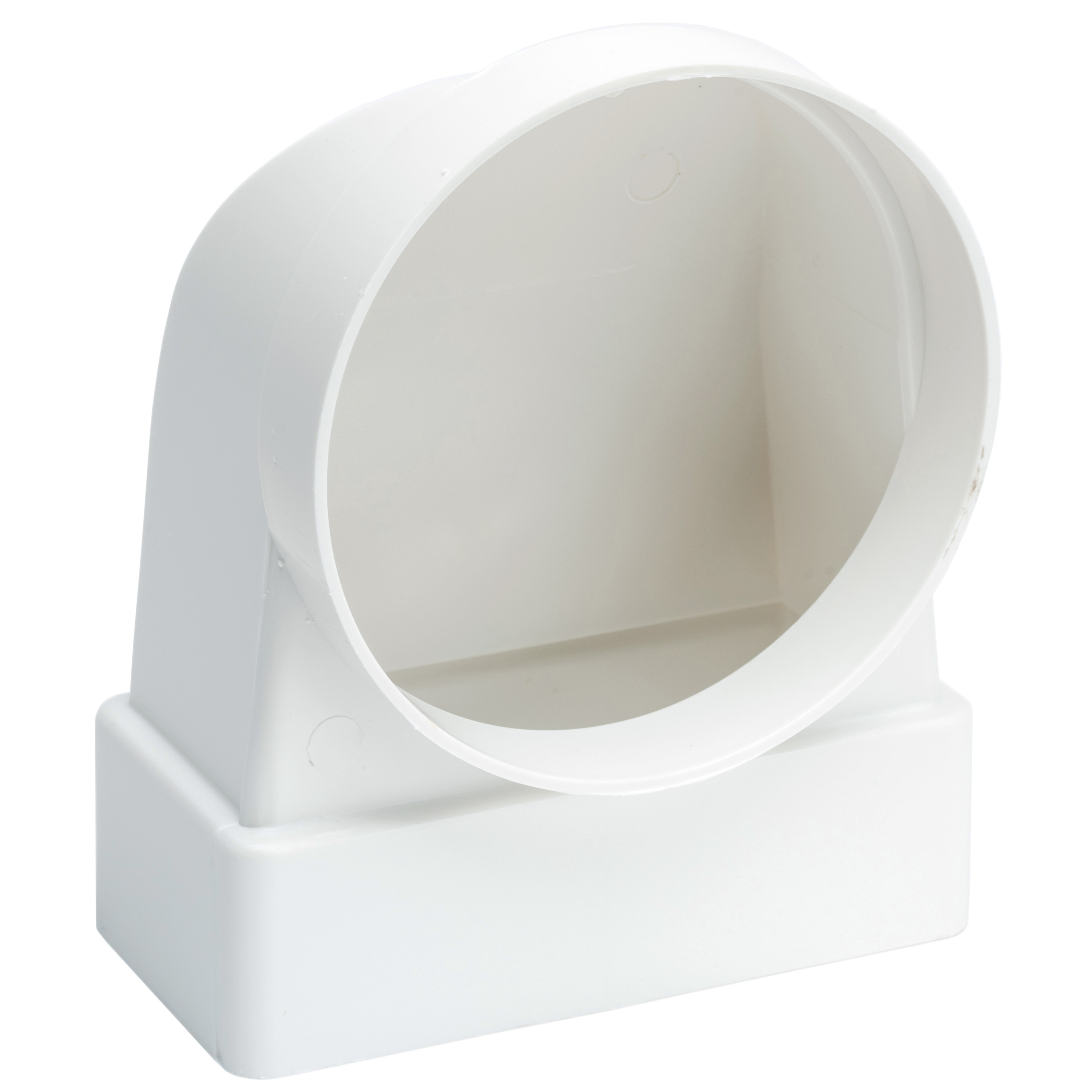 Manrose Flat To 100mm Round Ducting Pipe Male Elbow - White, 110mm x 54mm