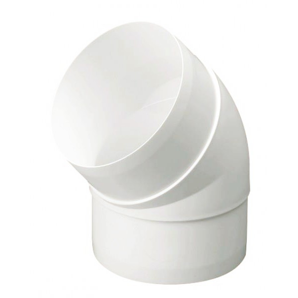 Manrose Round Ducting Pipe 45 Degree Bend - White, 100mm
