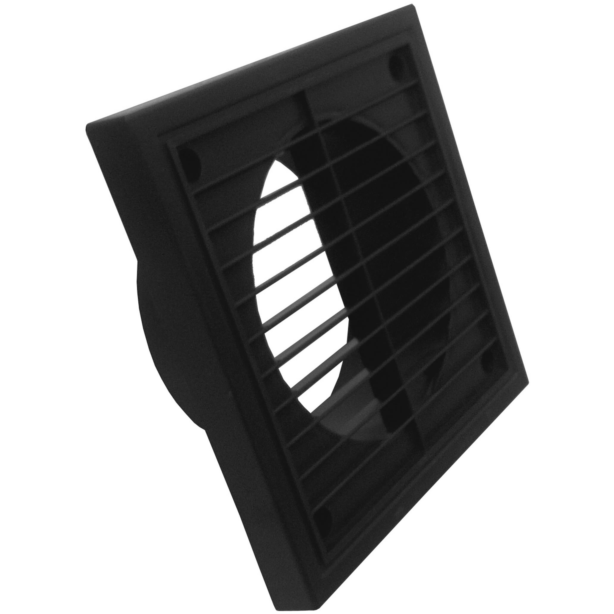 Manrose Round Ducting Pipe Fixed Grille Vent Outlet - Black, 100mm