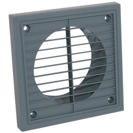 Manrose Round Ducting Pipe Fixed Grille Vent Outlet - Grey, 100mm