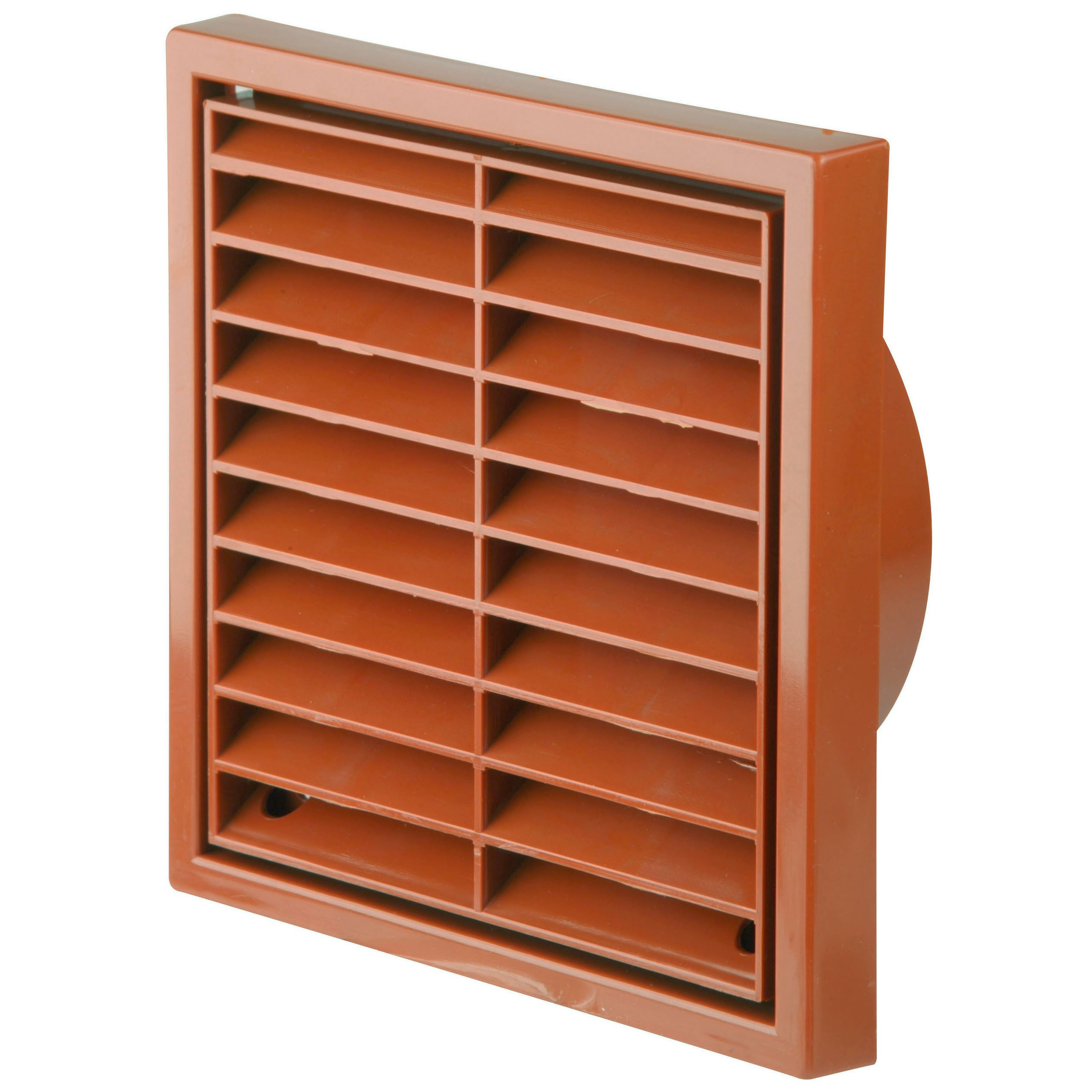 Manrose Round Ducting Pipe Fixed Grille Vent Outlet - Terracotta, 100mm
