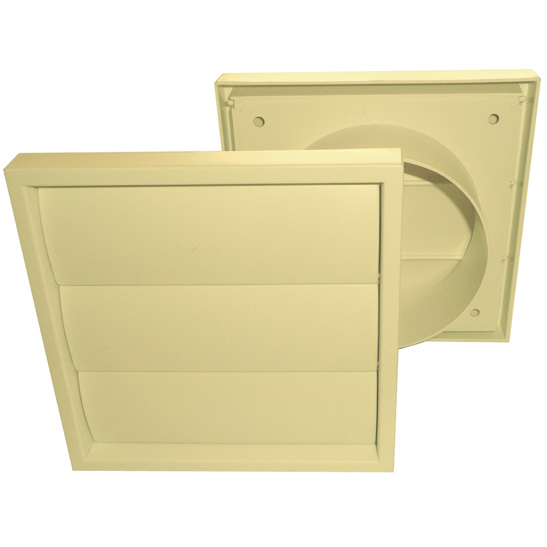 Manrose Round Ducting Pipe Gravity Shutter Vent Outlet - Cream, 100mm