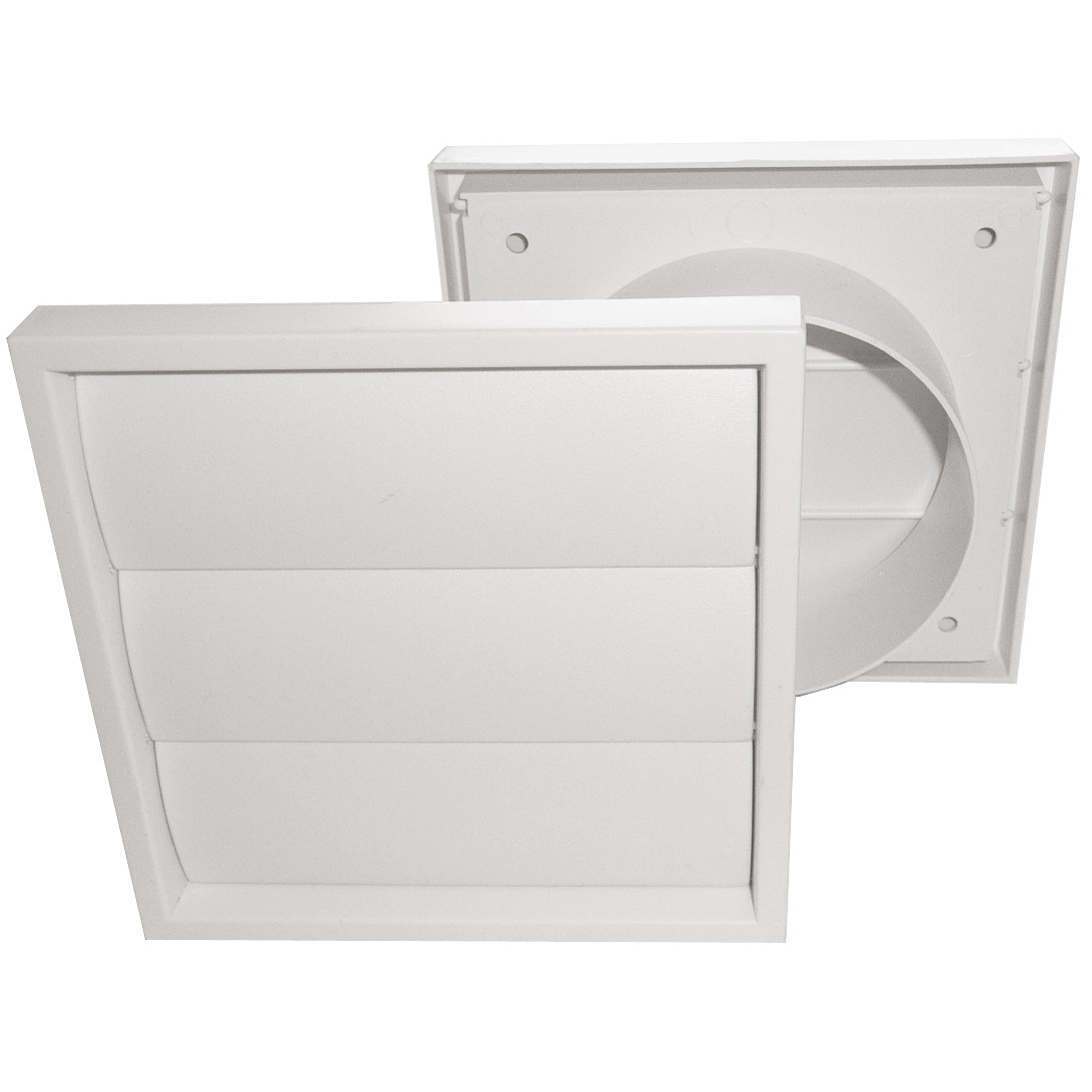 Manrose Round Ducting Pipe Gravity Shutter Vent Outlet - White, 100mm