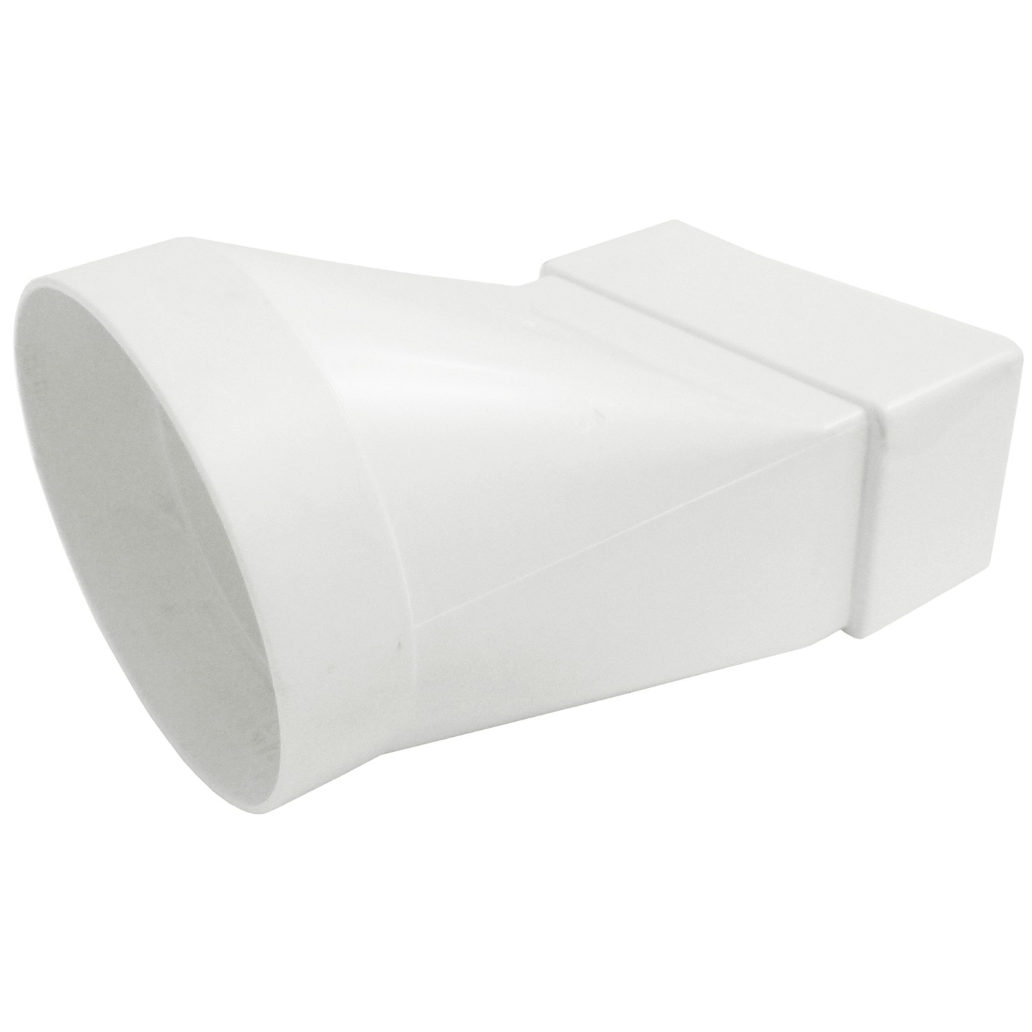 Manrose Round To Flat Ducting Pipe Long Adaptor - White, 125mm to 204mm x 60mm