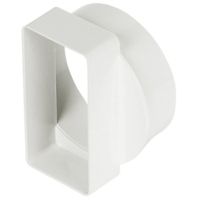 Manrose Round To Flat Ducting Short Pipe Adaptor (Male to Female) - White, 100mm to 110mm x 54mm