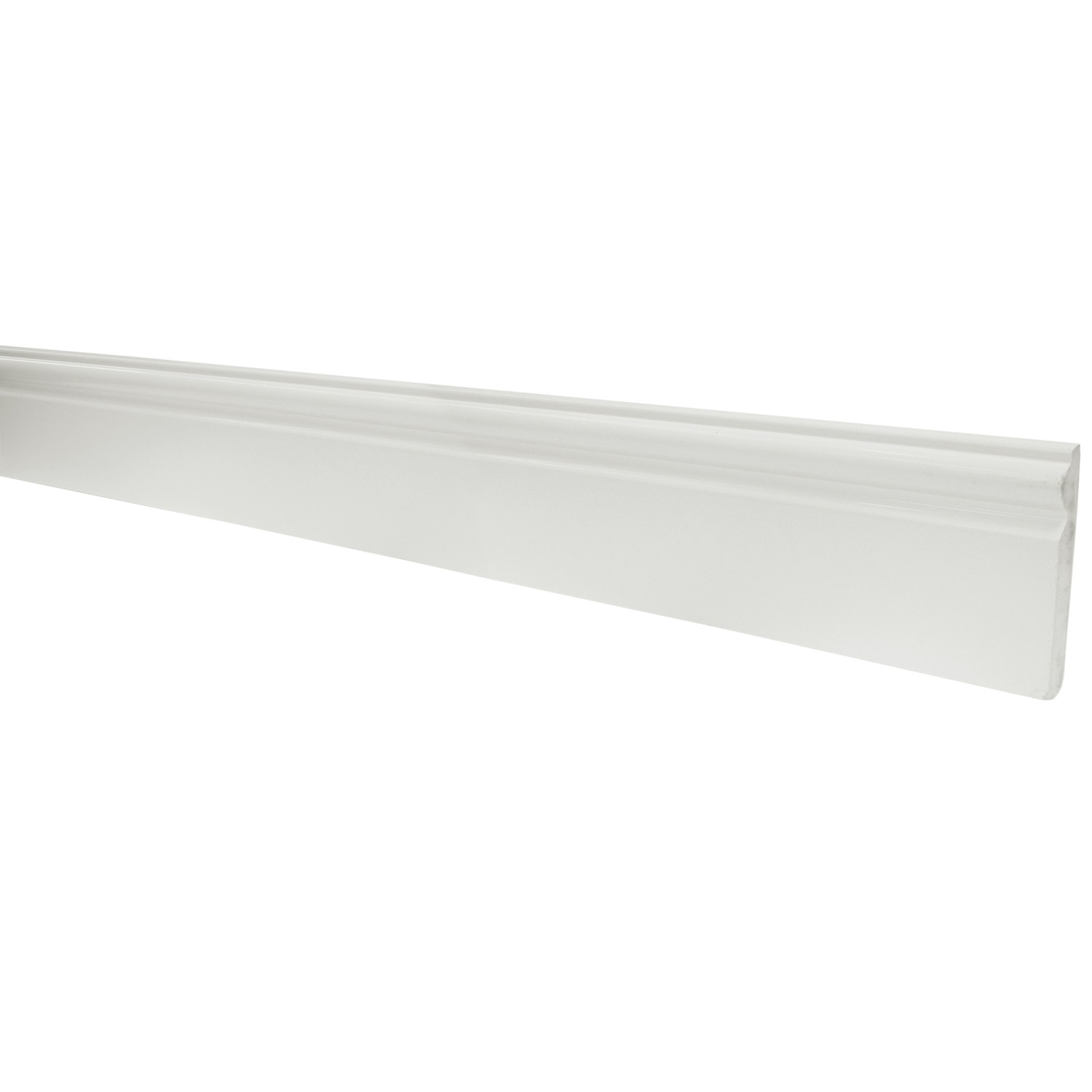 PSD Ogee Plastic Skirting Board - White, 95mm, 2.5 metre