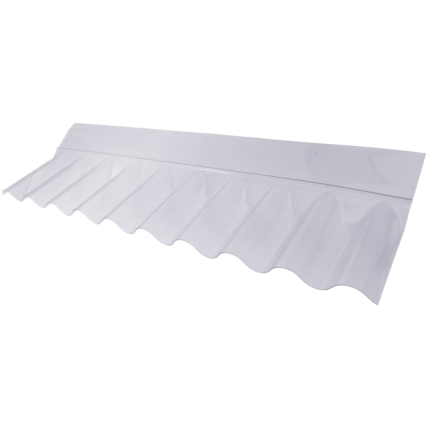 """PSD Plastic 3"""" Corrugated Roofing Sheet Wall Flashing - Clear, 704mm x 225mm x 65mm"""