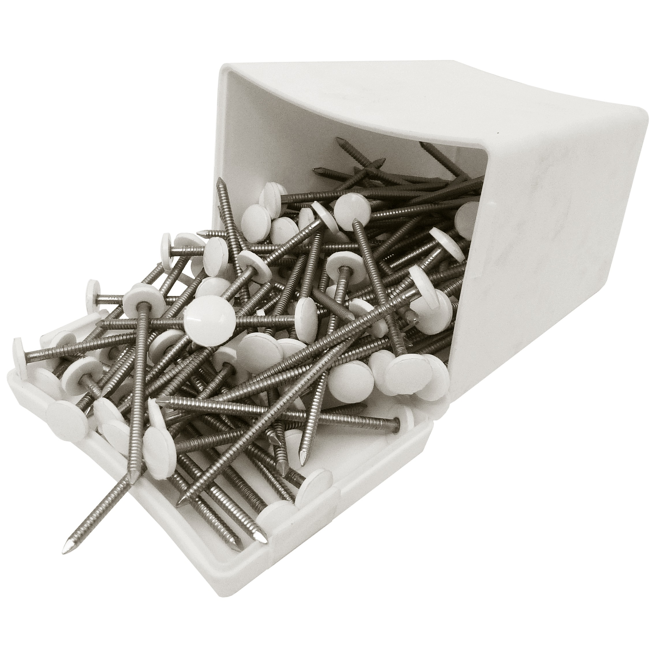 Plastops Plastic Headed Nails - White, 50mm