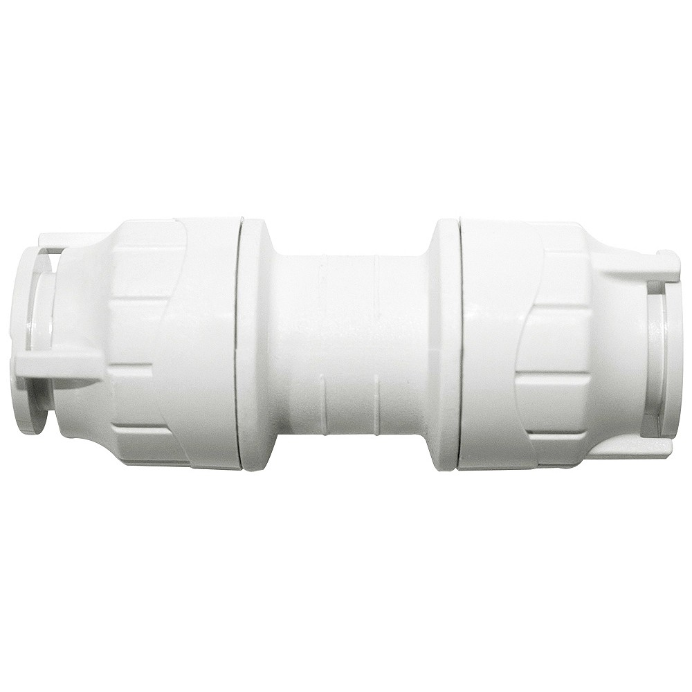 PolyFit 15mm Push Fit Straight Coupler - White