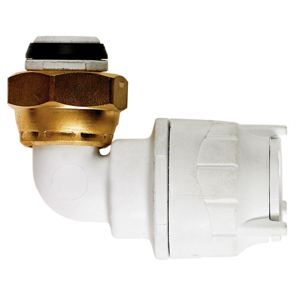 """PolyFit 15mm to ½"""" Bent Tap Connector - White"""