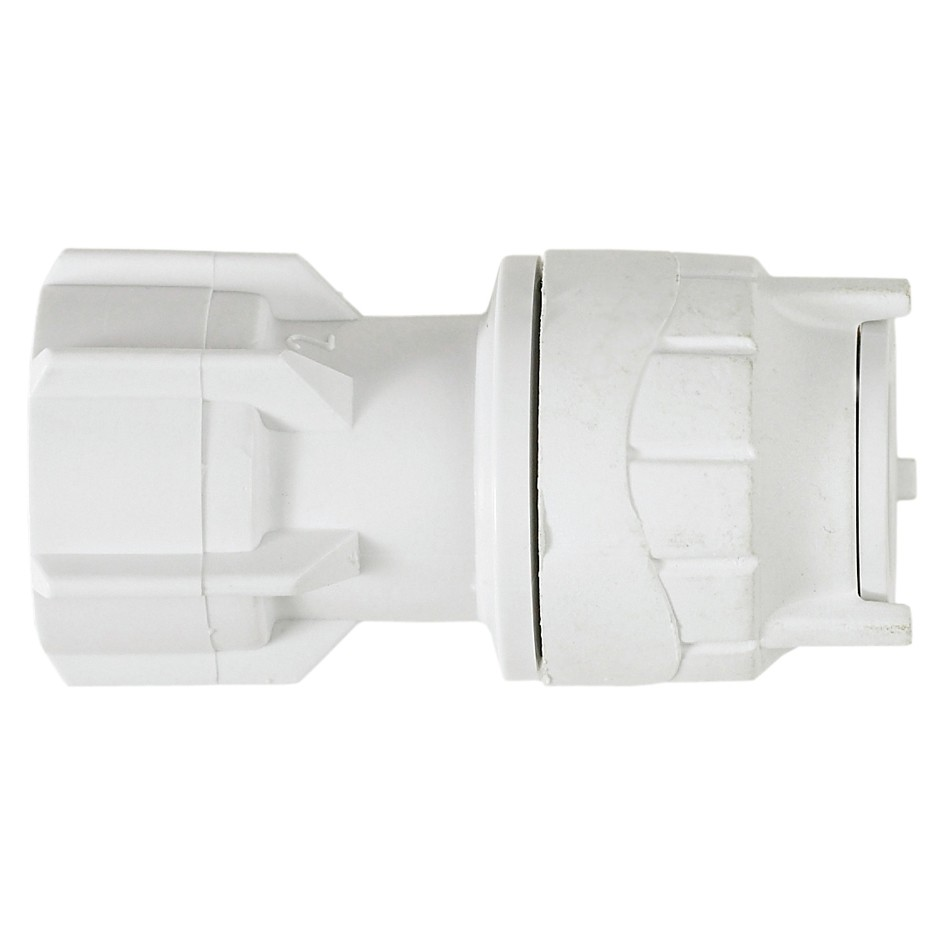 """PolyFit 15mm to ½"""" Hand Tighten Tap Connector - White"""