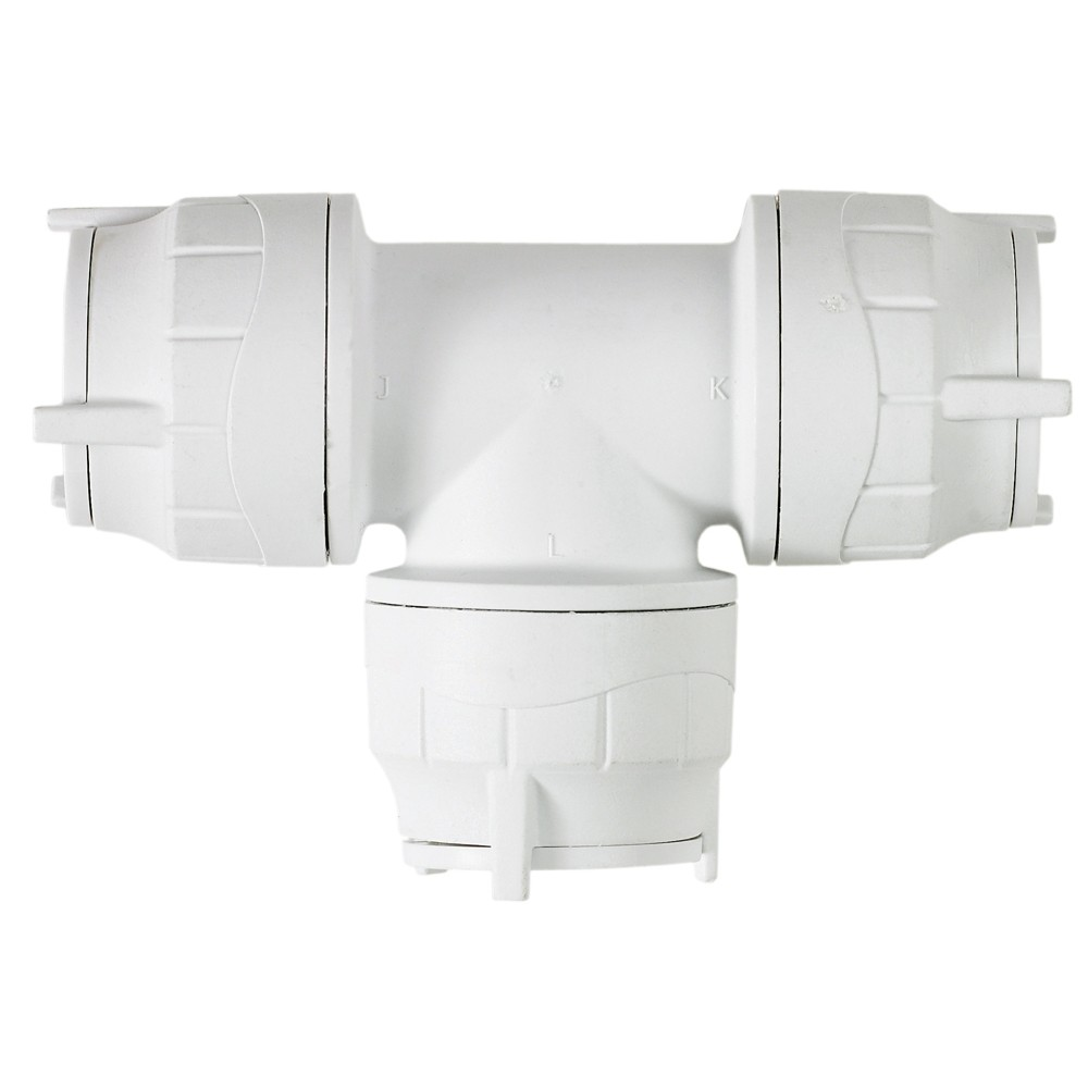 PolyFit 22mm Push Fit Equal Tee - White