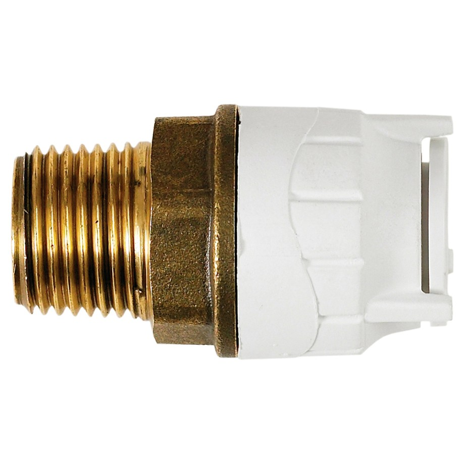 """PolyFit 22mm to ¾"""" Male BSP Push Fit Adaptor - White"""