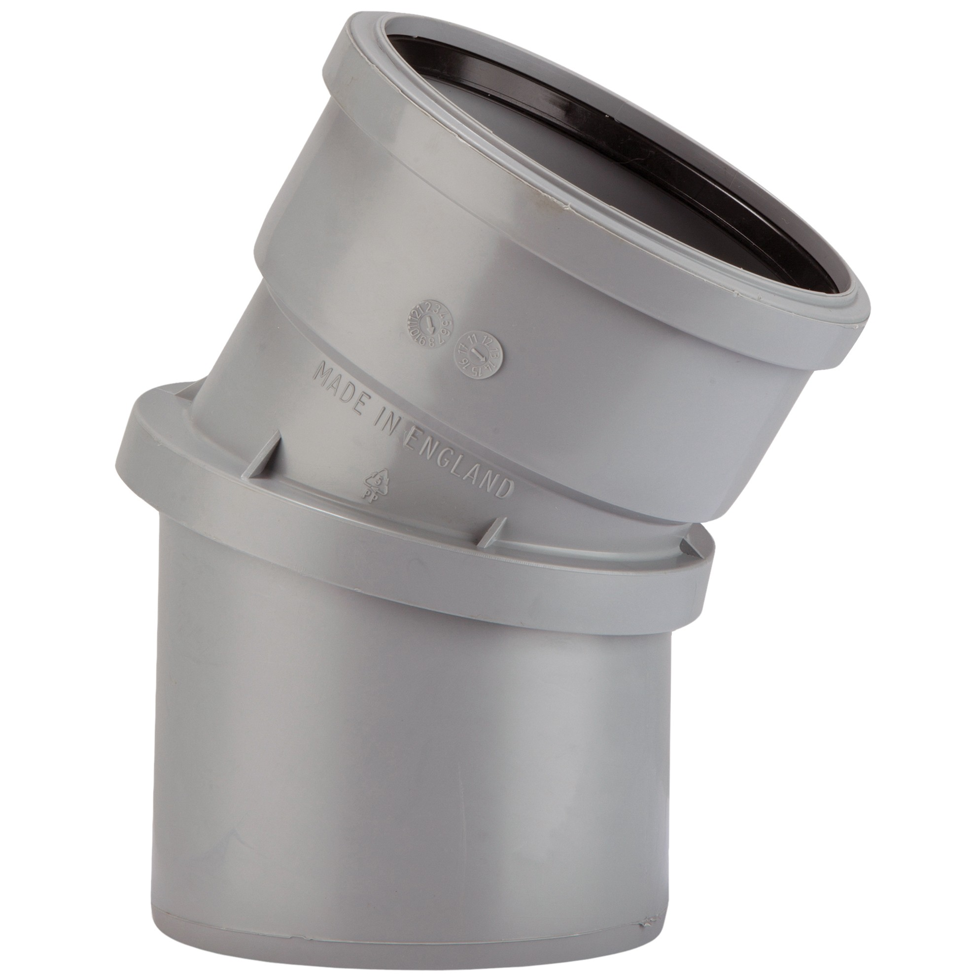 Polypipe 110mm Soil 0-30 Degree Adjustable Bend - Grey