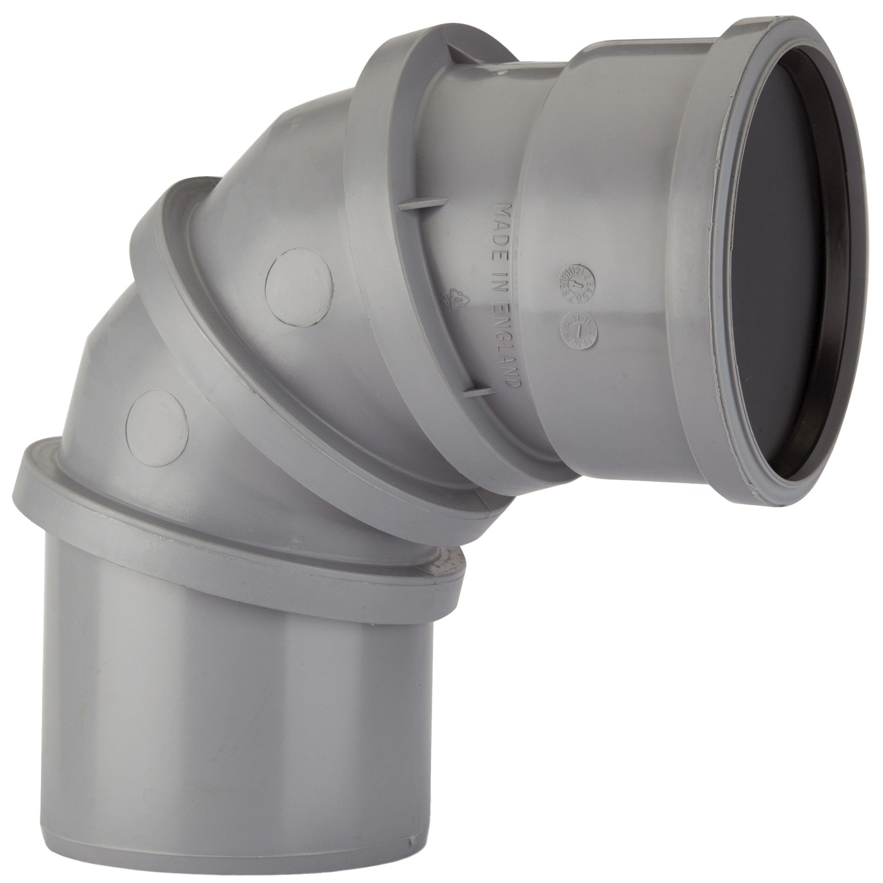 Polypipe 110mm Soil 0-90 Degree Adjustable Bend - Grey