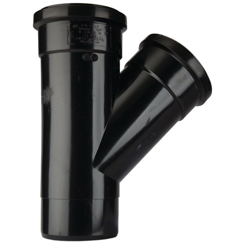Polypipe 110mm Soil 135 Degree Equal Single Branch - Black