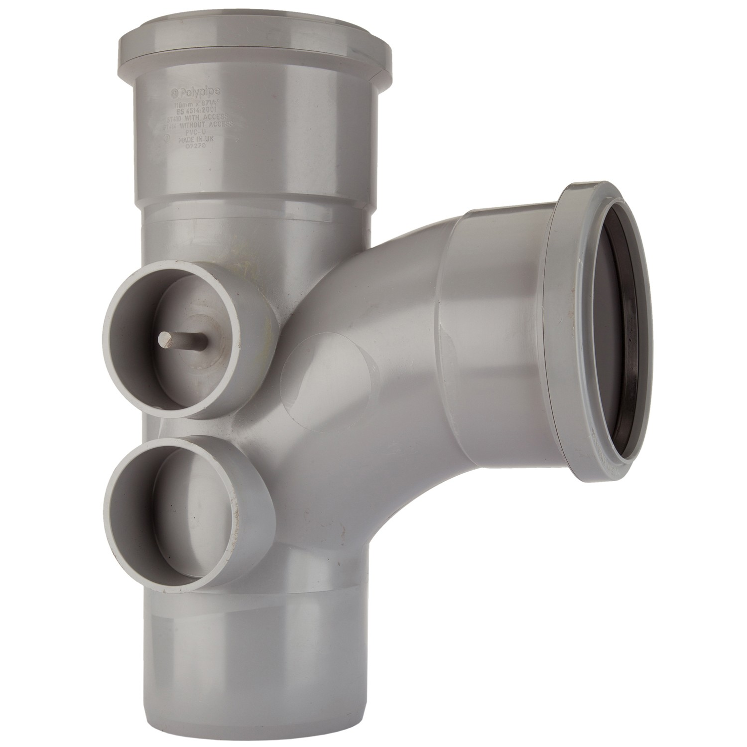 Polypipe 110mm Soil 92.5 Degree Equal Branch with 4 Bosses - Grey