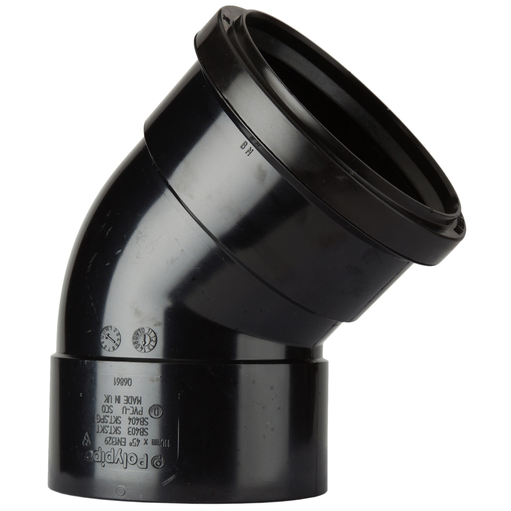 Polypipe 110mm Soil Double Socket 135 Degree Offset Bend - Black