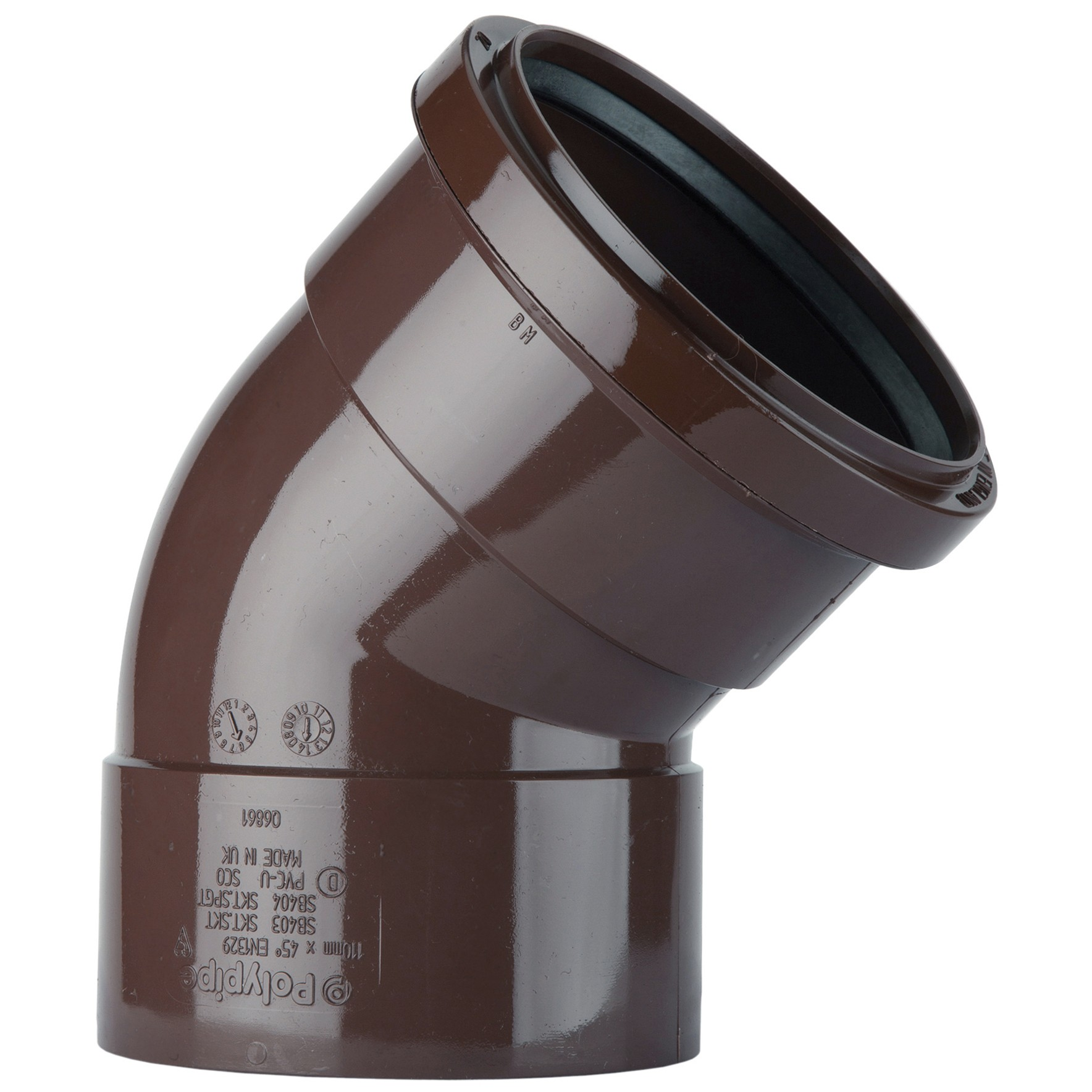 Polypipe 110mm Soil Double Socket 135 Degree Offset Bend - Brown