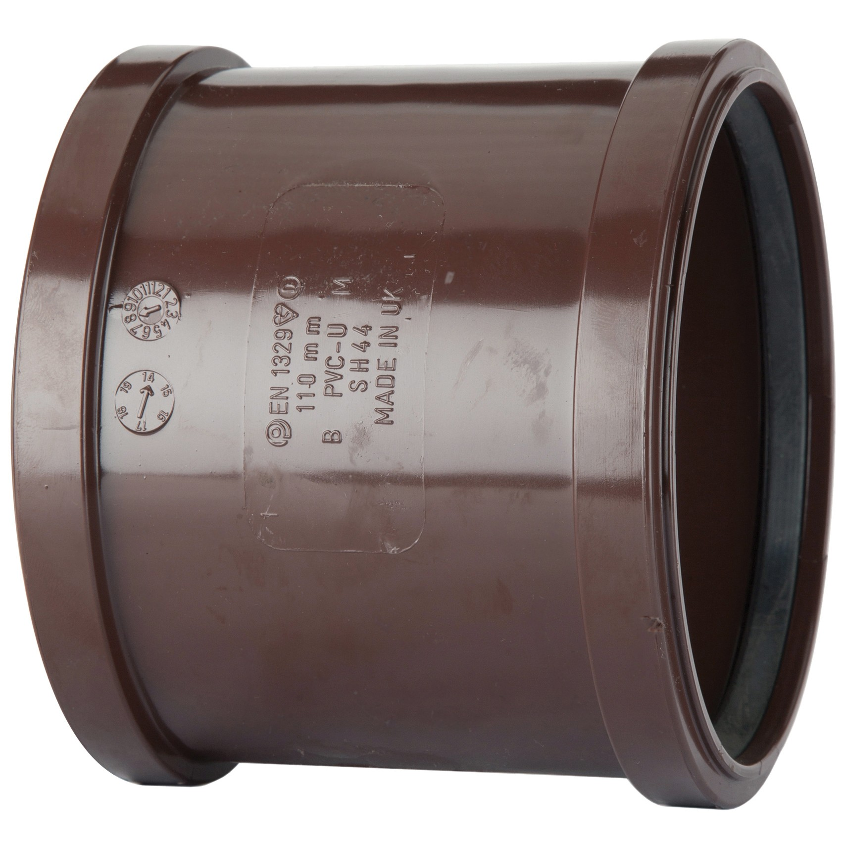 Polypipe 110mm Soil Double Socket Coupler - Brown