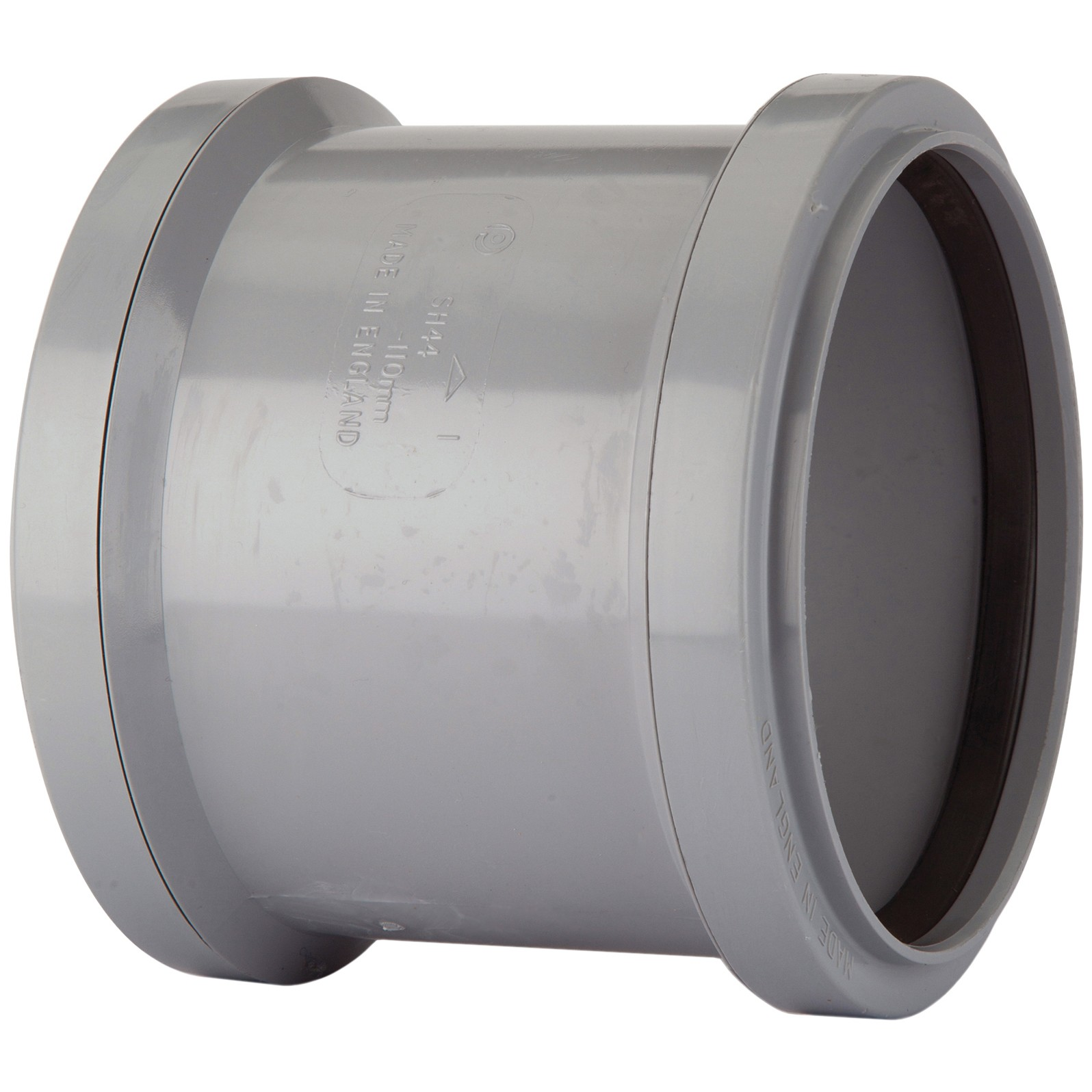 Polypipe 110mm Soil Double Socket Coupler - Grey