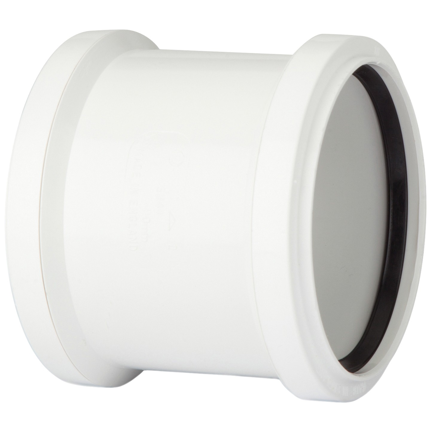 Polypipe 110mm Soil Double Socket Coupler - White