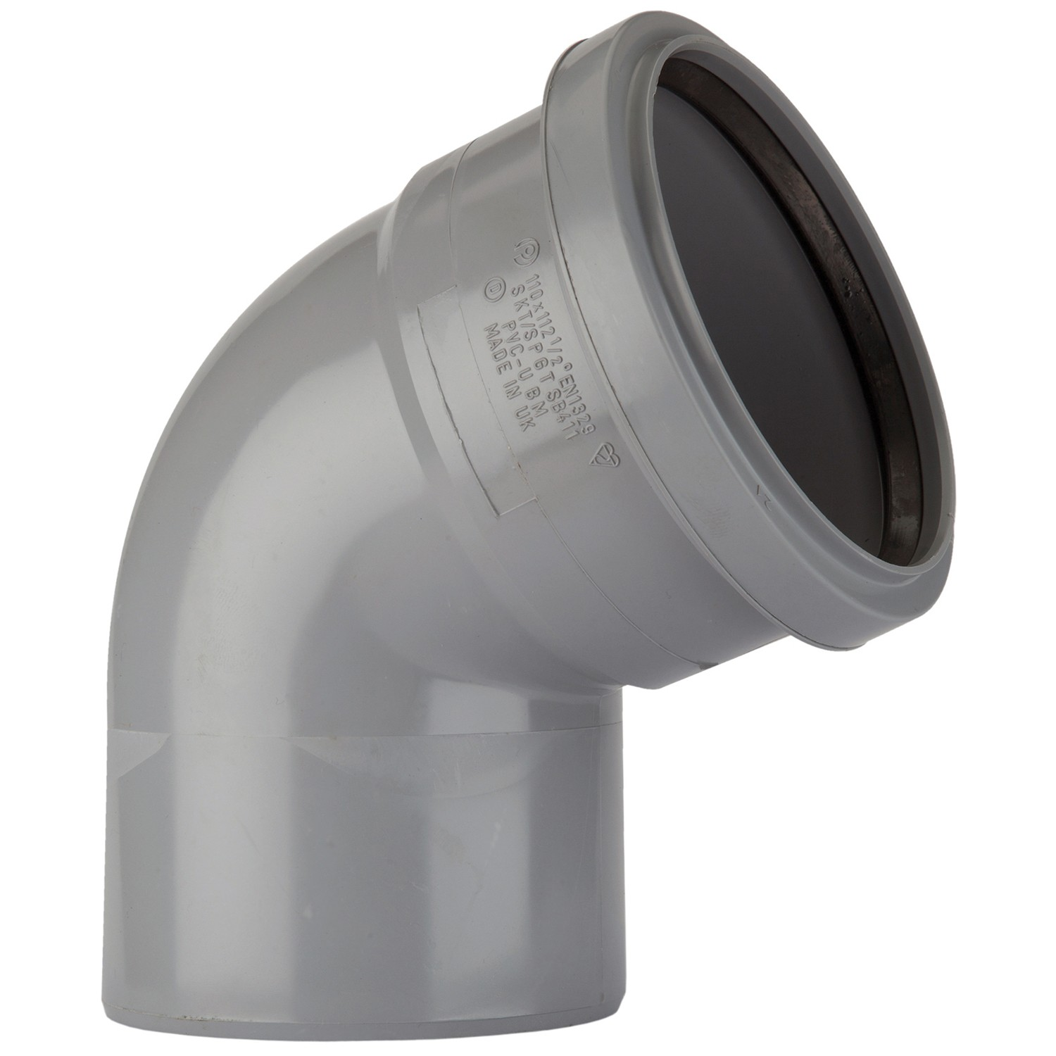 Polypipe 110mm Soil Single Socket 112.5 Degree Bend - Grey