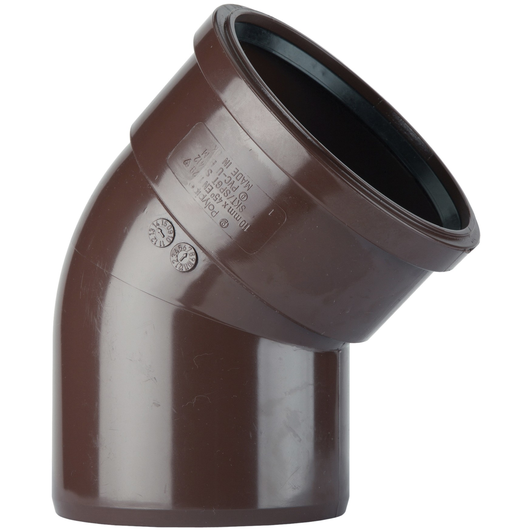 Polypipe 110mm Soil Single Socket 135 Degree Bend - Brown