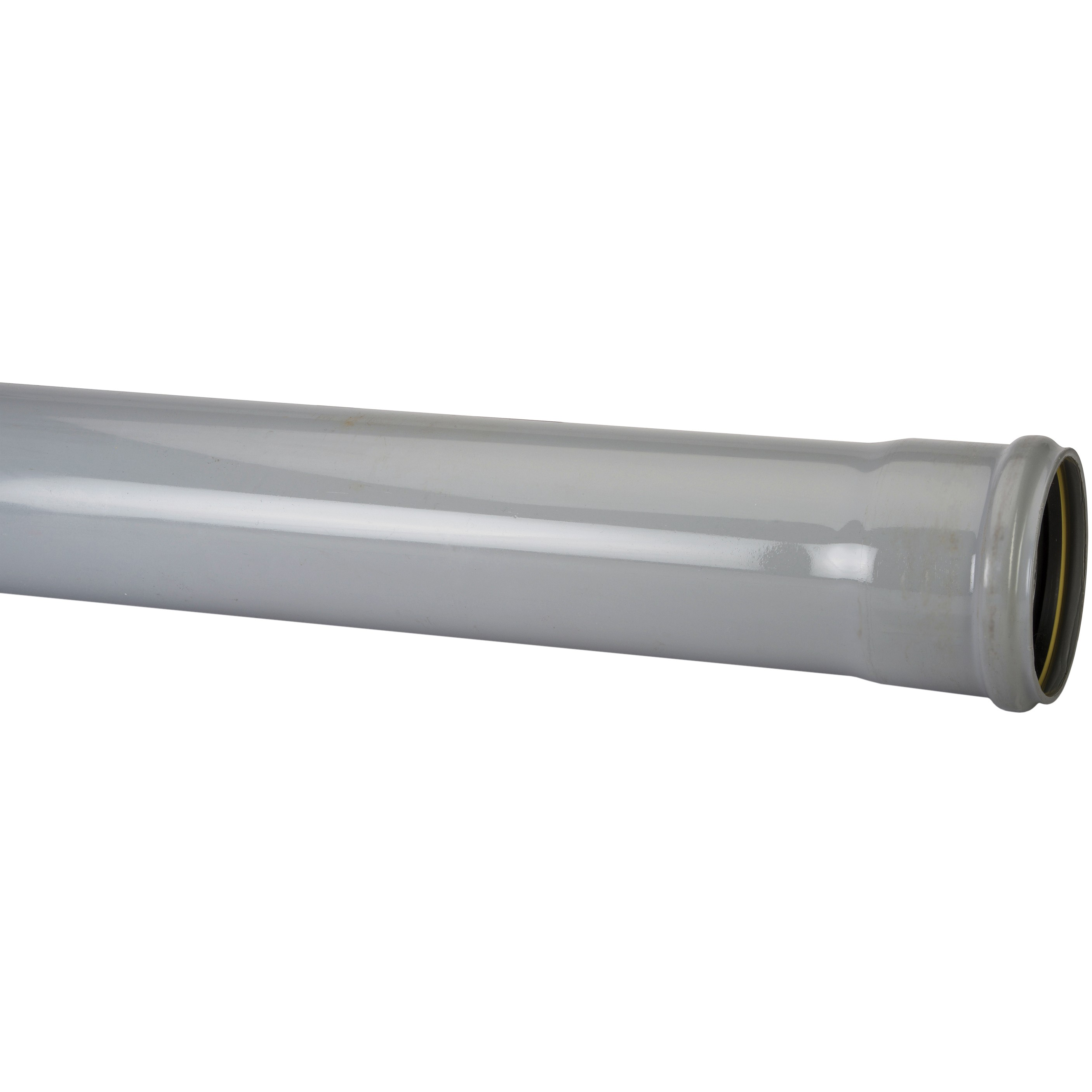 Polypipe 110mm Soil Single Socket Pipe - Grey, 3 metre