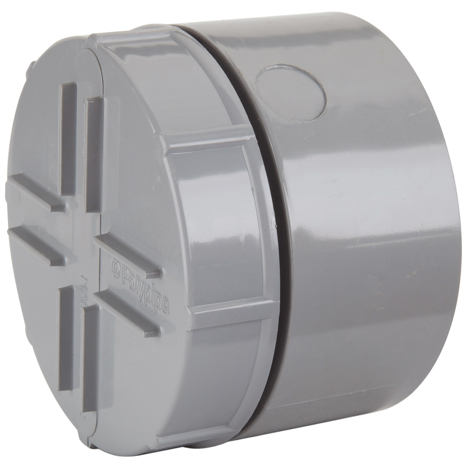 Polypipe 110mm Soil Socket Tail Screwed Access Cap - Grey