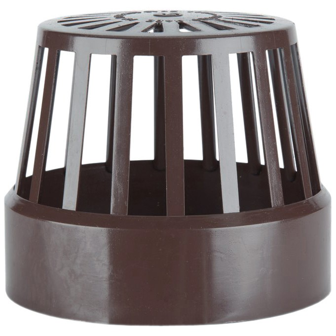 Polypipe 110mm Soil Vent Terminal - Brown