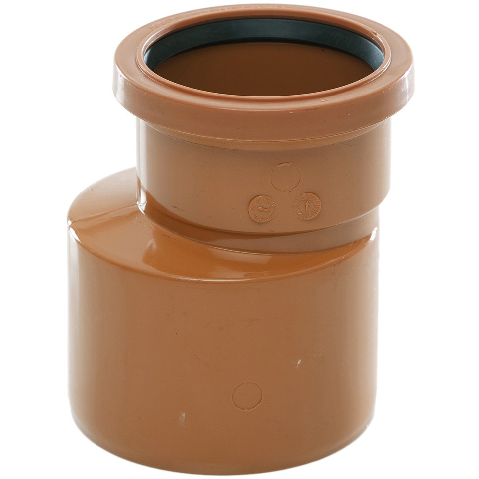 Polypipe 110mm To 82mm Underground Socket-Spigot Reducer - Terracotta