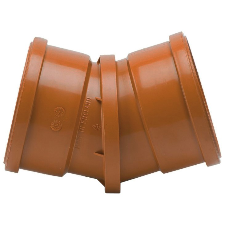 Polypipe 110mm Underground 0-30 Degree Adjustable Double Socket Bend - Terracotta