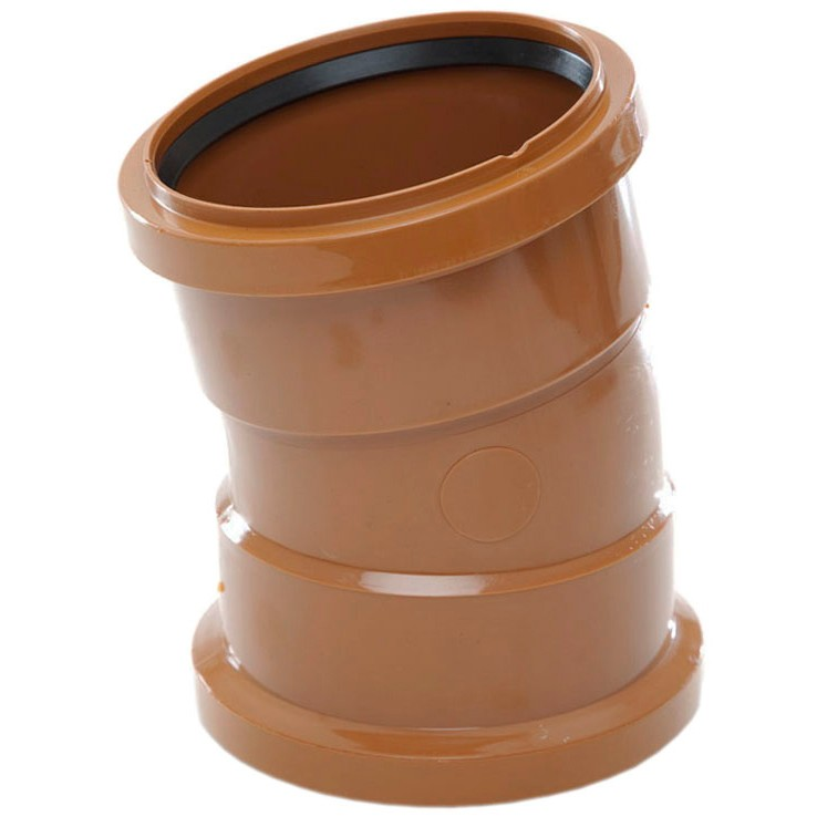 Polypipe 110mm Underground 11.25 Degree Double Socket Short Radius Bend - Terracotta