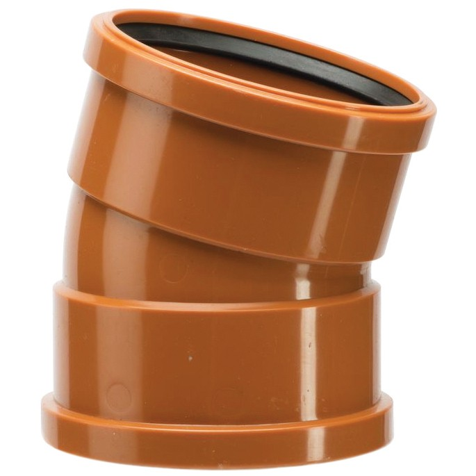 Polypipe 110mm Underground 15 Degree Double Socket Short Radius Bend - Terracotta