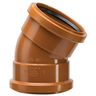 Polypipe 110mm Underground 30 Degree Double Socket Short Radius Bend - Terracotta