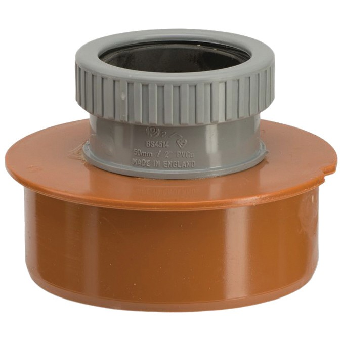 Polypipe 110mm Underground 50mm Single Waste Pipe Adaptor - Terracotta