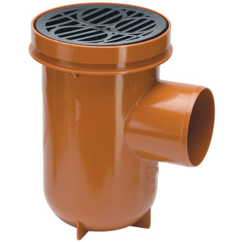 Polypipe 110mm Underground Bottle Gully With Plastic Grid - Terracotta