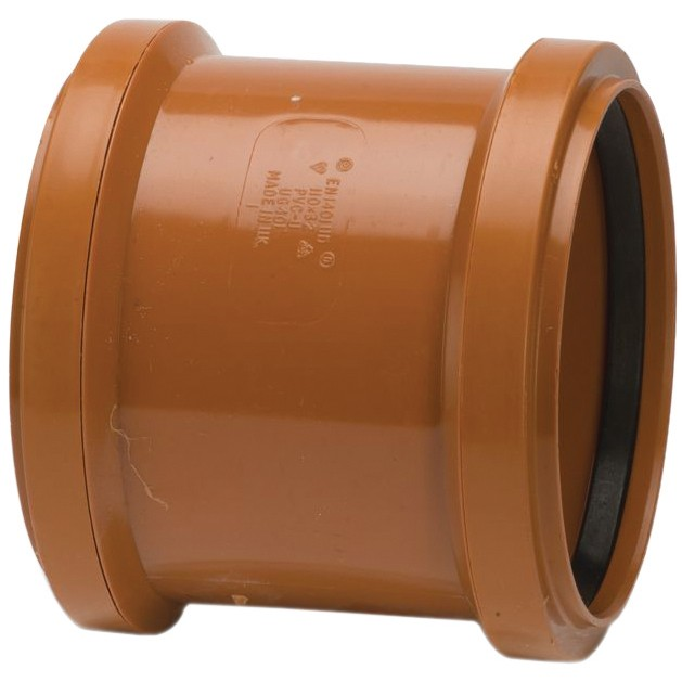 Polypipe 110mm Underground Double Socket Coupler - Terracotta