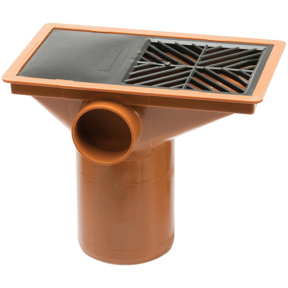 Polypipe 110mm Underground Flat Hopper Head With Plastic Grid - Terracotta